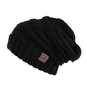 C.C. Beanie Ribbed knit slouchy beanie in BLACK